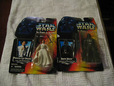 STAR WARS POWER OF THE FORCE DARTH VADER and  Princess Leia  MOC KENNER 1995