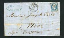 Rare lettre de Marseille pour Nice (1862) - Cachet Maritime MARSEILLE BAT A VAP
