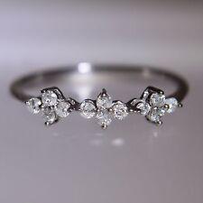 Diamond Flower Trilogy 9ct White Gold Half Eternity Ring size N ~ 6 3/4