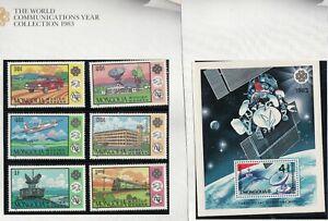 Mongolia 1983 Communication set of 6 + miniature sheet. SG1579-84 & MS 1585. MUH
