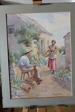FLORENCE M GILL ORIGINAL WATERCOLOUR COTTAGE GARDEN SIGNED