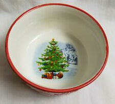 Earthenware Soup Salad Cereal Bowl Christmas Holiday Design White Red