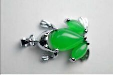 Beautiful green emerald frog necklace Tibet silver pendant
