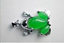 Beautiful green emerald frog necklace Tibet silver pendant
