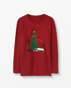 Hanna Andersson Sueded Tee Shirt 90 US 3T Burgundy Christmas Tree Construction