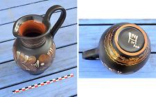 Pichet à cidre marron foncé, ou vase, avec motifs floraux, peint main, signé,