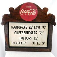 """Vintage Coca-Cola Hamburger Wood Sign 21""""x24"""""""