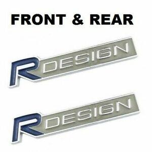 2X Volvo R DESIGN Silver Blue Front Grille & Rear Boot Badge Emblem Set  BLUE