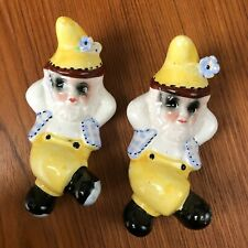 2 Small Vintage Pixie Elf Gnomes Ceramic Wall Hangings Figurines Made in Japan