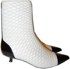 BALLY Quilted Tremona Black Pointy Toe Boot Kitten Heel Zipper Booties 5.5- 36