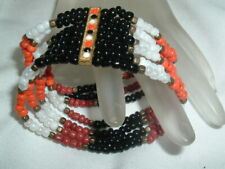 Stretch Bracelet in Gift Box Vintage Southwest Beaded Coral Jet Pearl
