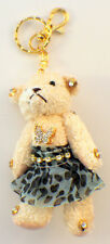 Plush Teddy Bear Jointed Cute Key Chain Fob Phone Purse With Leopard And Bling