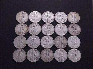 Lot of (20) Walking Liberty Half Dollars | 1936 - 1947 Mixed Dates