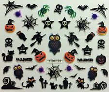 Halloween 3D Nail Art Stickers Decals Spider Webs Ghosts Owls Pumpkins Witch 133