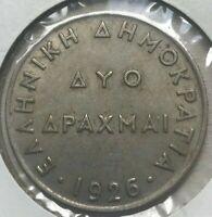 1926 Greece 2 Drachmai Drachma