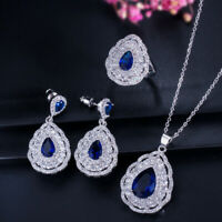 CWWZircons CZ Stones Water Drop Blue Earrings Necklace Ring 925 Silver Jewelry