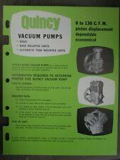 Rare Vintage Original Quincy Vacuum Pumps Flyer