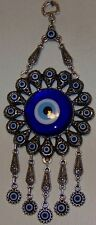 "Turkish 9"" Long 2"" Glass Evil Eye Kabbalah & Metal Floral Pattern Wall Charm"