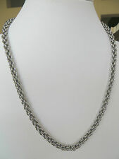 Unisex Solid Rolo Link Stainless Steel Chain Necklace 24 Inches Long