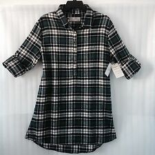 Authentic Jachs Women's Plaid Shirt Top size 14/16 Navy White Green New $69