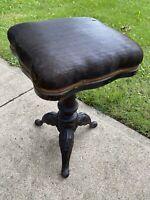 Antique HD Bentley Piano Organ Cushion Stool Chair NICE! wood cast iron
