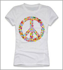 T-SHIRT DONNA PEACE AND LOVE  A FIORI