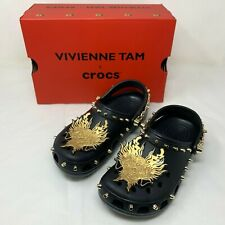 NIB Vivienne Tam X Crocs Women's Black Studded Chain-Link Clog Shoes Size US 10