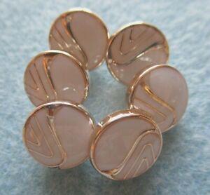 ROUND ROSE GOLD WHITE ENAMEL OFFSET ZEBRA  STRIPE SHANK BUTTONS - 11MM - 10PCS