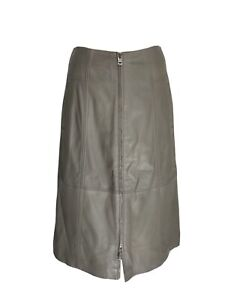 Autograph By M&S Mushroom Leather Mid Length Skirt Feature Zip Greige UK 10 12