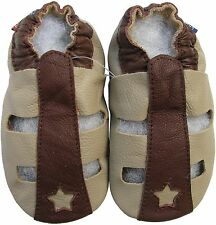 carozoo sandals tan brown 3-4y soft sole leather toddler shoes