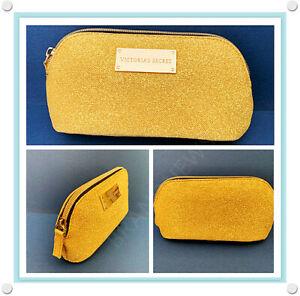 Victoria's Secret Gold Glitter Sparkle Shiny Zipper Travel Pouch Make Up Bag NEW