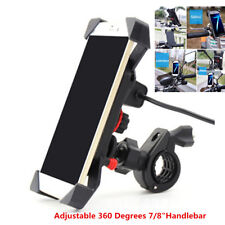"""UNIVERSAL 7/8"""" Handlebar Cradle Holder Motorcycle Phone mount with charger - 6"""""""