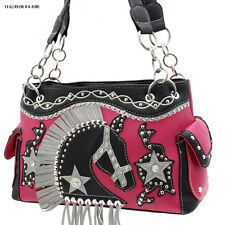 HD 893 PINK WESTERN RHINESTONE  HORSE HEAD PURSE CONCEALED CARRY WEAPON HANDBAG