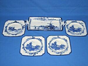 "Royal Doulton ""Norfolk"" sandwich set - 1 large, 4 small plates"