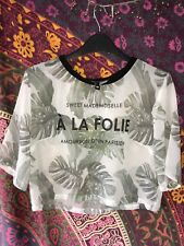 H&M Divided Sheer Womens Top, Size 10, Leaf print, Floaty