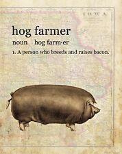 Hog Farmer Vintage Iowa State Map Art Print 4-H FFA Pork Producers Swine MAP34