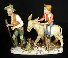 VTG CAPODIMONTE OLD MAN WITH BOY ON DONKEY PORCELAIN FIGURINE MADE IN ITALY MINT