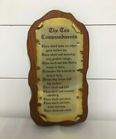 Vintage Ten Commandments Plaque Wall Hanging Religious Christian