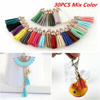 30Pcs Charms Suede Leather Tassel For Keychain Pendant Jewelry DIY Craft Set-