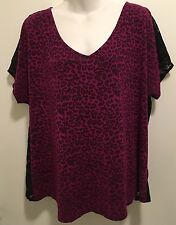Punk Goth Torrid Purple Leopard Print Lace Back VNeck Short Sleeve Tee 1x