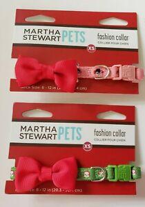 """Martha Stewart Pets Fashion Dog Collar Holiday Size XS 8-12"""" Lot Of 2"""