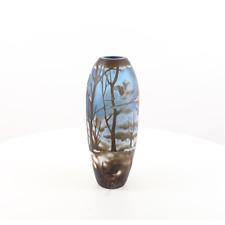 Vase blau Überfangglas Galle Murano Japan Design Glas Berge Vögel Art Nouveau