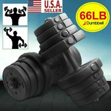 Totall 66 LB Weight Dumbbell Set Adjustable Cap Gym Barbell Plates Body Workout
