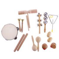 Kids Wood Hand Percussion Instrument Set Sand Maraca Shaker Tambourine Drum
