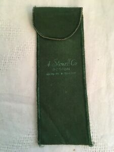 Vintage A STOWELL CO BOSTON Small Green Felt Silver Storage Bag 1 of 6
