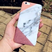 Rose Gold Marble & Real Glitter Hard PC Phone Case Cover For iPhone 8 7 Plus 6s