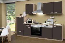 Küchenzeile Classic Lava KF 280cm, Sonoma Nb., incl.E-Geräte, Geschirrspüler