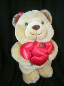 """Flowers Inc Balloons Canterberry 10"""" Plush Bear with Hearts Valentines Day Mint"""