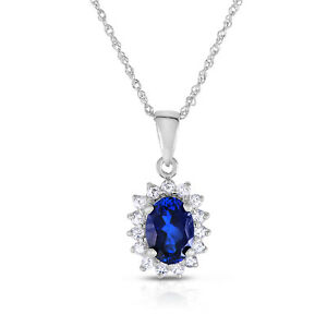 "10k White Gold Lab Created Blue Sapphire and White Topaz Pendant with  18"" chain"