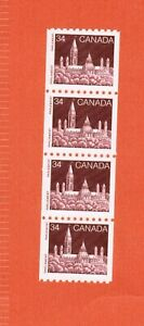 1985   # 952 STRIP OF 4  MINT COIL STAMPS  CANADA   PARLIAMENT BUILDINGS OC20